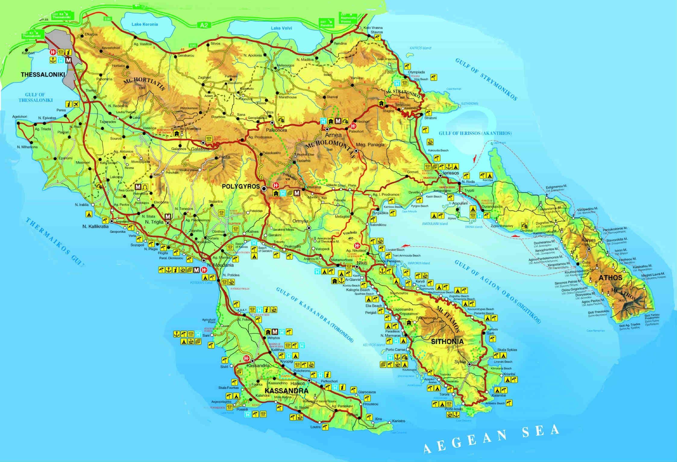 греция, халкидики, кассандра, схема-карта